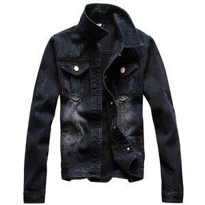 Мужская винтажная джинсовая куртка с длинным рукавом, черная джинсовая куртка с эффектом потертости, размер макси, для осени, в стиле «Тачки...