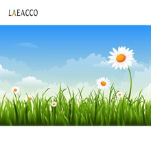 Laeacco Baby Cartoon Sunflower Green Grass Bule Sky Party Scenic Photo Backgrounds Photographic Backdrops For Studio