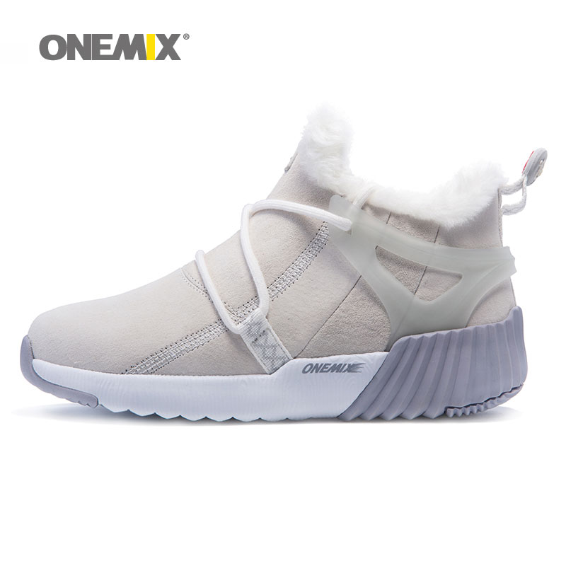 Onemix Women Autumn&Winter BootsSuede Leather Sneakers Hairy Boots Outdoor Warm Running Shoes For Women Anti Slip Walking
