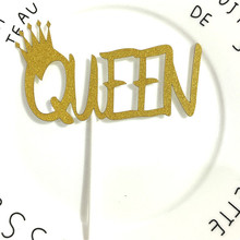 Birthday Wedding Cake Topper Crown Queen Cupcake Flags Glittler Party Baking Decor Gold Silver