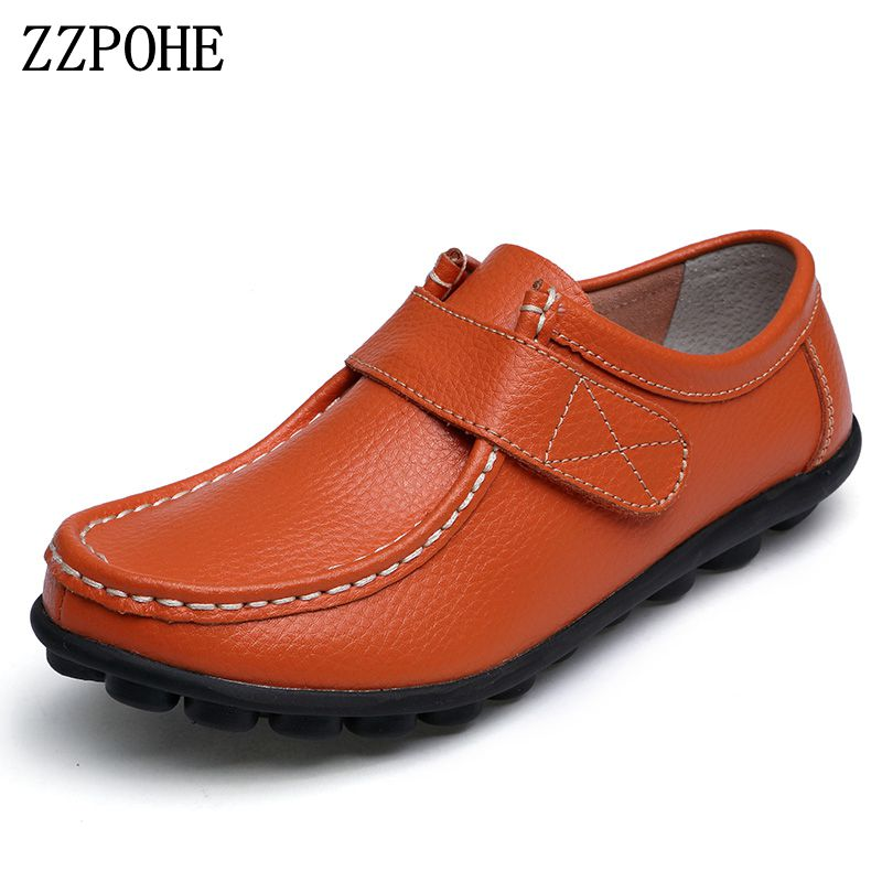 ZZPOHE Shoes Woman Fashion Genuine Leather Slip On Women Flat Shoes Mother Casual Comfortable Peas Shoes Female Driving Shoes zoqi shoes woman candy colors genuine leather women casual shoes 2018fashion breathable slip on peas massage flat shoes size 44