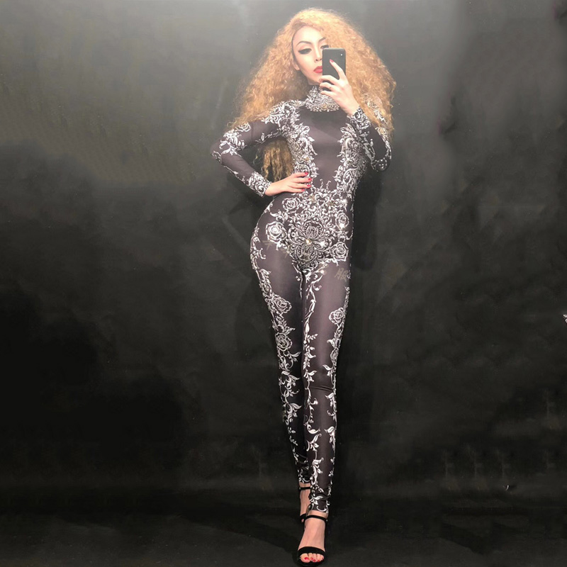 Hollow Black Crystals Stretch Jumpsuit Sexy Nightclub Bar Dance Wear Bodysuit Leggings Celebrate Outfit Performance Clothing