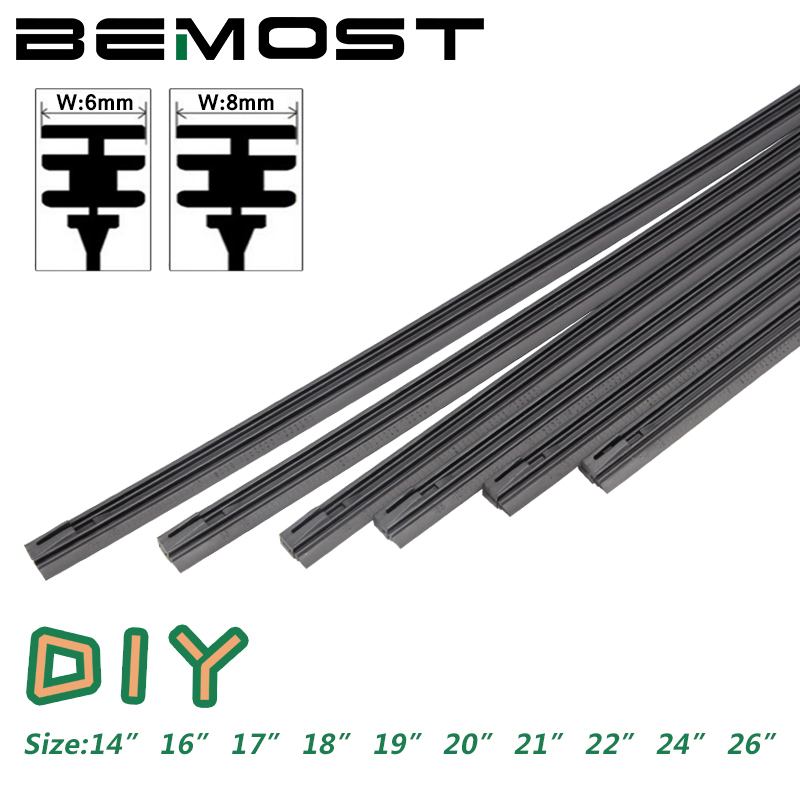 "BEMOST Car Windshield Wiper blade Insert soft Natural Rubber Strip strips (Refill) 8mm 6mm Soft 14""16""17""18""19""20""21""22""24""26""(China)"