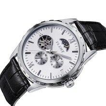 男性の古典エレガントなレザーストラップ自動機械式時計ムーンフェイズ秒針アナログ腕時計