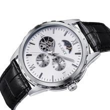 Hommes de Classique Élégant Bracelet En Cuir Automatique Mécanique Montres Lune Phase Deuxième Main Analogique Montre-Bracelet