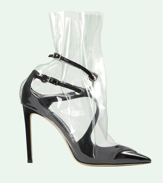 Apoepo Newest Pointed Toe Cross-tie High heel Shoes 2018 Sexy PVC Cutouts Thin Heels Shoes Woman Leather Pumps Black Pink newest solid flock high heel pumps woman