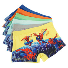 4 pcs/lot Spiderman cartoon panties 3d print children boy right angle pants boys underwear briefs