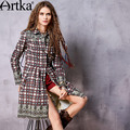 Artka Women's 2017 Spring Printed All-match Trench Vintage Turn-down Collar Long Sleeve Single Breasted Skirt Hem Coat FA10163C