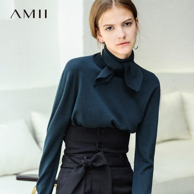 Amii Minimalist Women 2018 Autumn Sweater High Quality Original Design Straight Tie Long Sleeved Female Pullovers Sweaters