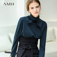 Amii Minimalist Women 2018 Autumn Sweater High Quality Original Design Straight Tie Long Sleeved Female Pullovers Sweaters
