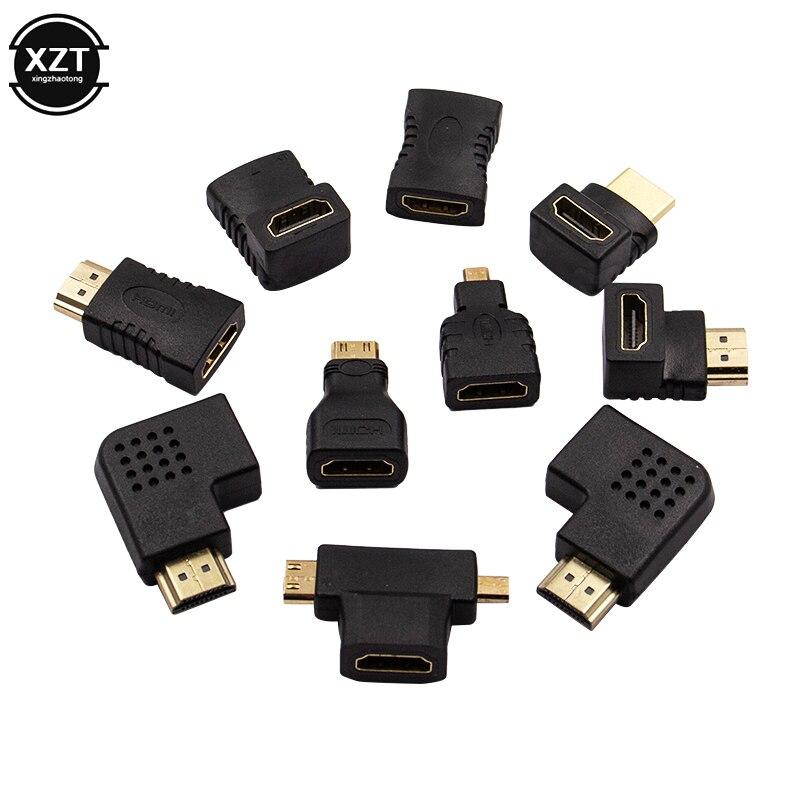 10 sztuk Adapter HDMI kit HDMI męski na żeński 90 kątowy lewy/prawy konwerter Mini Micro Adapter Extender zestawy złączy do HDTV