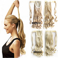 "22"" 90G Synthetic Long Wavy Clip In Wrap Around Ponytail Fake Hair Extension False Hair Ponytails Pad Hairpiece pony Tail"