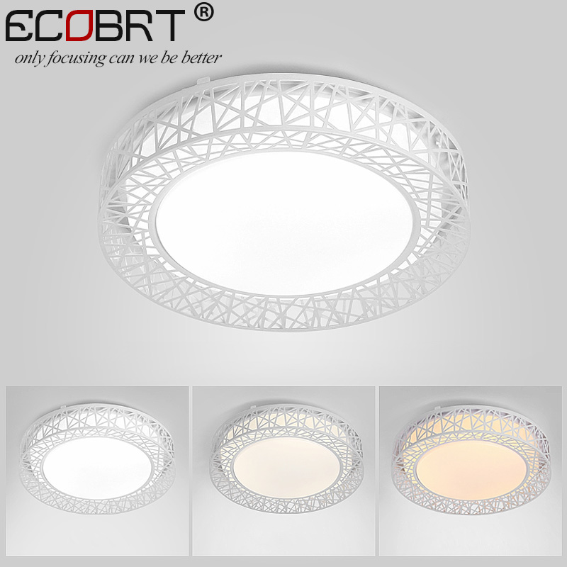 ECOBRT-Mdoern Brief indoor led ceiling lights round bedroom decoration Bird's Nest white ceiling lighting lamps 24W 220V creative star moon lampshade ceiling light 85 265v 24w led child baby room ceiling lamps foyer bedroom decoration lights