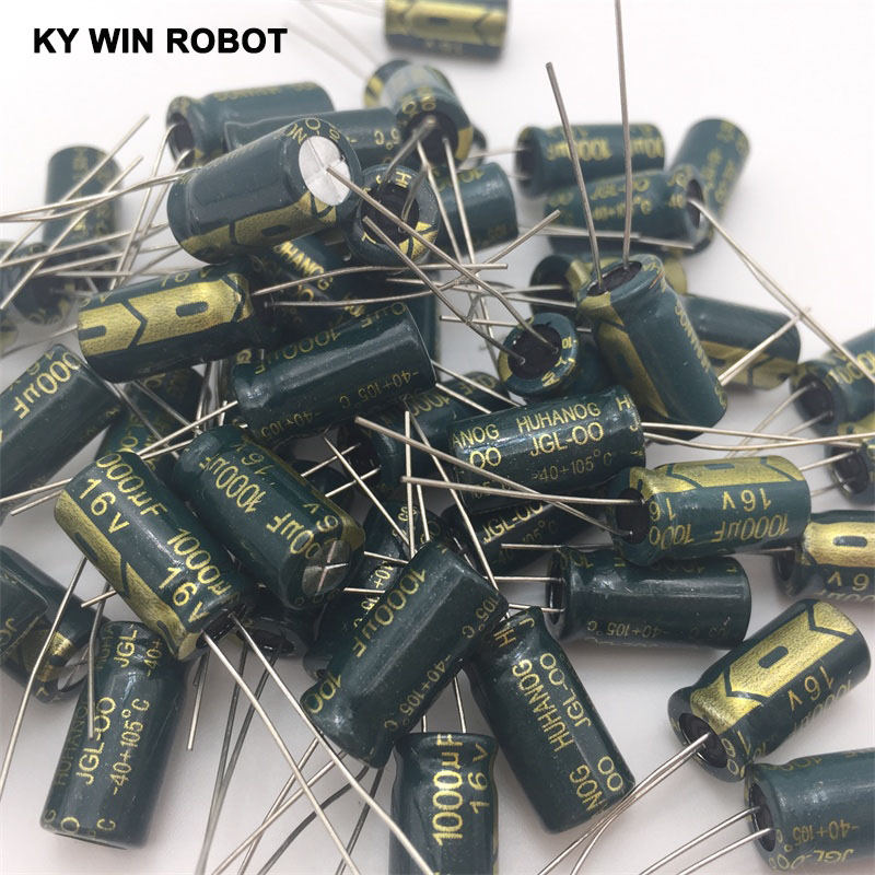 50PCS Aluminum Capacitors 1000uF 108 20% 8*16mm 16V 1000000nF 1000000000pF Diameter8mm