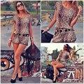 Сексуальные Женщины Leopard Печати комбинезон с коротким рукавом мода ткань КОМБИНЕЗОНА Шорты Габаритные Без Ремня
