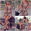 Sexy Women Leopard Print jumpsuit short sleeve fashion cloth JUMPSUIT Shorts Overall Without Belt