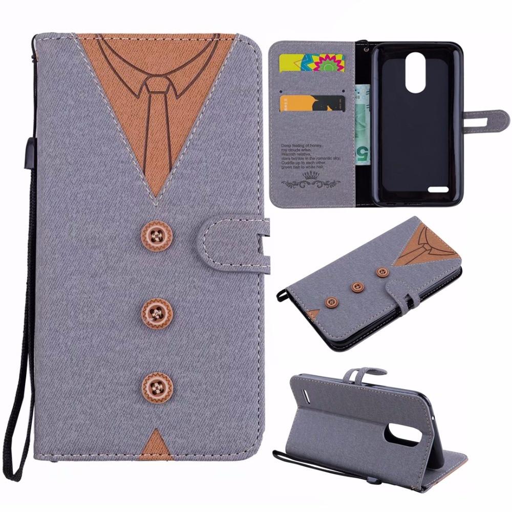 Cases For LG K8 2017 EU K10 2017 EU Vintage Cloth Necktie Bow Tie Buttons Leather Flip Wallet Stand Phone Back Cover