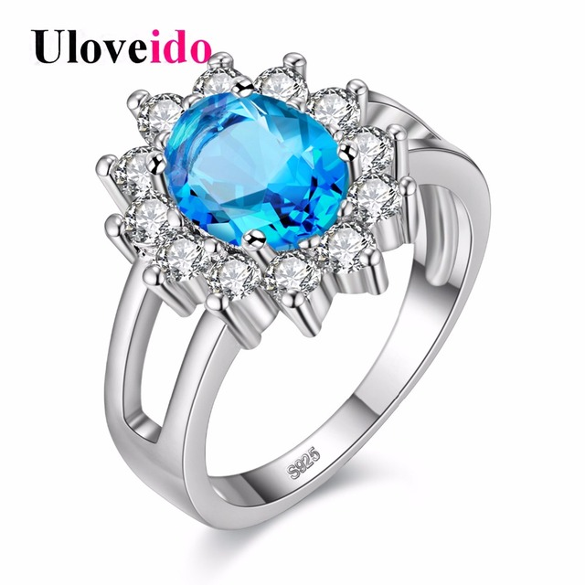 Almei 49% off Rings For Women Flower Jewelry Silver Color Women Wedding Anel Ring Blue Pink Rainbow Zircon Anillos Mujer Y050