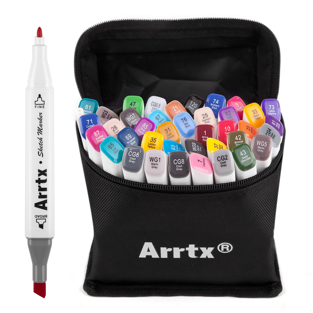 Arrtx 40 Colors Art Markers Set Alcohol Based Ink Sketch Marker Pen For Artist Drawing Manga Animation Supplies
