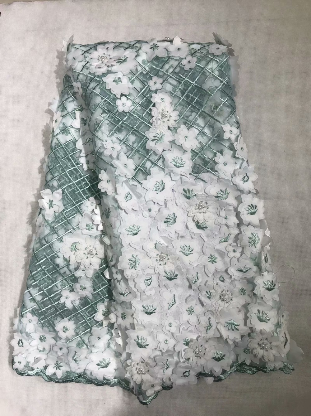 NEW Beautiful White Green All Over 3D flowers Appliques french lace lovely African tulle lace fabric