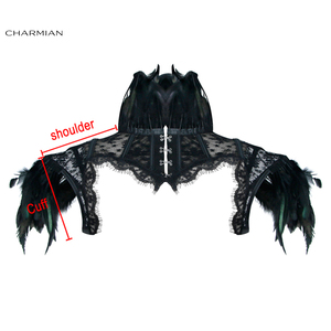 Image 5 - Charmian Womens Victorian Gothic Black Feather High Neck Cape Sheer Floral Mesh Corset Shrug