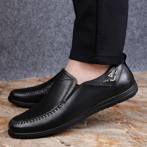 Image 5 - 2020 mens dress shoes slip on genuine leather cow classic black or brown office shoe man plain formal shoes for men big size 12