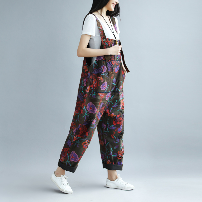New Jumpsuits Rompers  spring and summer printing old big pants female large yard hole rural wind bib-in Jumpsuits from Women's Clothing    3