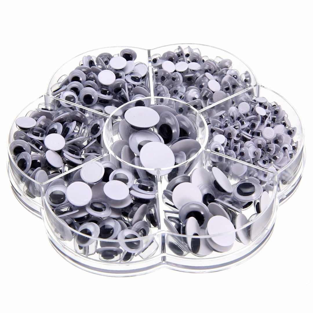 700pcs Plastic Round Wiggly Googly Eyes Self-adhesive 4/5/6/7/8/10/12mm For Doll Toy Craft DIY Decoration