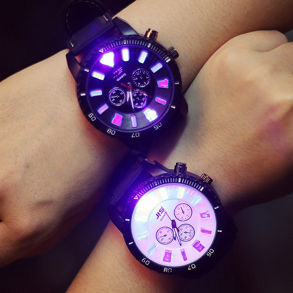 Led Flash Luminous Couple Watches Personality Students Lovers Jellies Woman Men's Watches Colorful Light WristWatch Fashion Teen