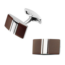 Men's shirts Cufflinks high-quality copper material Red Enamel Silver Stripe Cufflinks Cufflinks 2 pairs of packaging for sale
