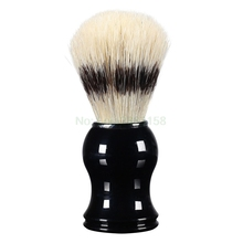 1Pc Mens Shaving Brush Boar Bristle Hair Straight Razor Shave Barber Face Cleaning Black Resin Handle Salon Tool Classic Gift