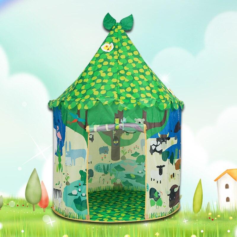 Kinderen Tenten Portable Grote Ruimte Groene Bladeren Kinderen Spelen Tent Polyester Huis Kasteel Binnenshuis Kids Tenten voor Verjaardagscadeautjes-in Speelgoed tenten van Speelgoed & Hobbies op  Groep 1