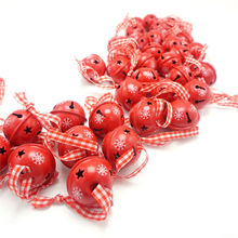 Christmas decoration 40 pcs red metal snowflake jingle bell Christmas ornament for home