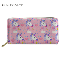ELVISWORDS Unicorn Printed Wallets&Purse Women Cash Wallet Ladies Luxury Design Phone Holders for Females Clutch Coin Purse