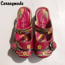 Careaymade-New 2017 Spring/Summer,Genuine cowhide thick bottom muffin flat slippers,Women ethnic style candy color slippers958-2