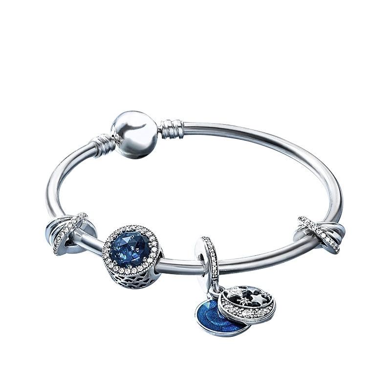 Authentic 925 Sterling Silver Original Starry Fairy Tales Europe Bangle Set Clear CZ Fit Women Bracelet