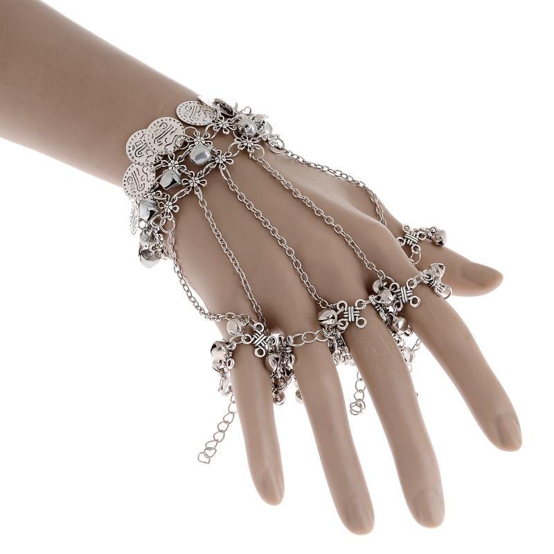 2018 nuevo encanto vintage Bohemia moneda Pulseras y brazaletes joyería de  las mujeres plata plateada flor esclavo cadena campana pulseras al por mayor a66f9d2b8d37