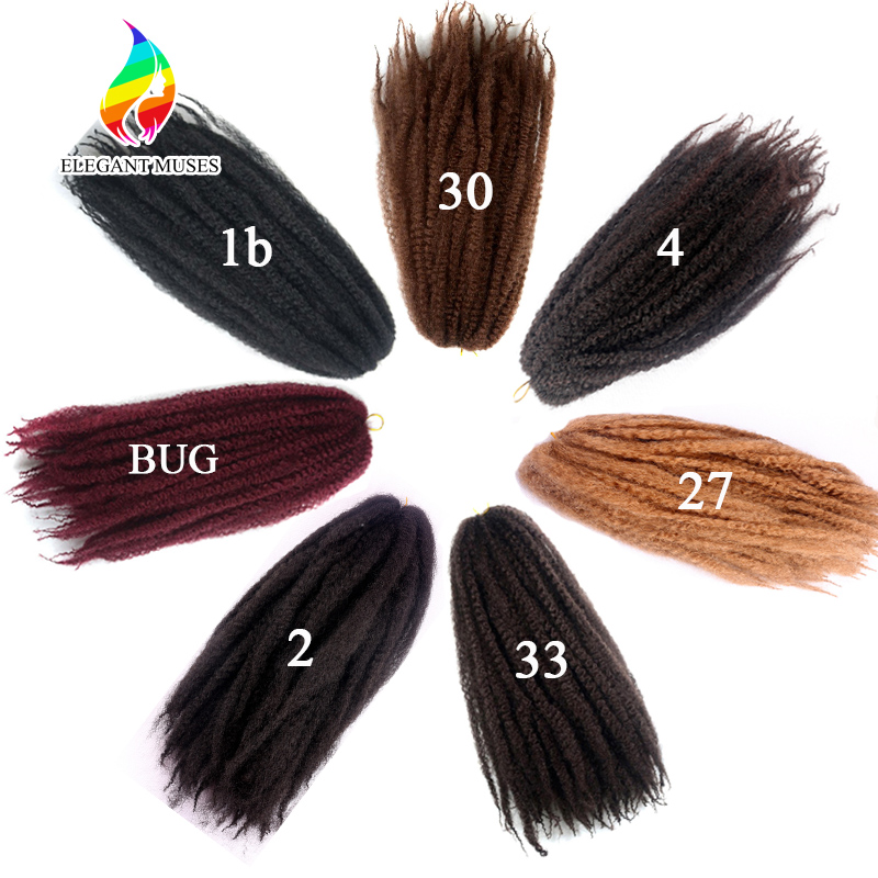 ELEGANT MUSES Afro Kinky Crochet Twist Braids 1pcs Synthetic Fiber Hair Extensions Natural Black Marley Braiding
