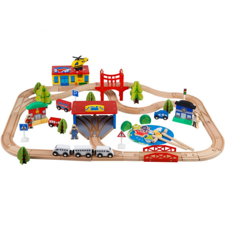 80pcs/lot big size wooden building kit toy fishing game + train rail + cars very good quality gift for kids