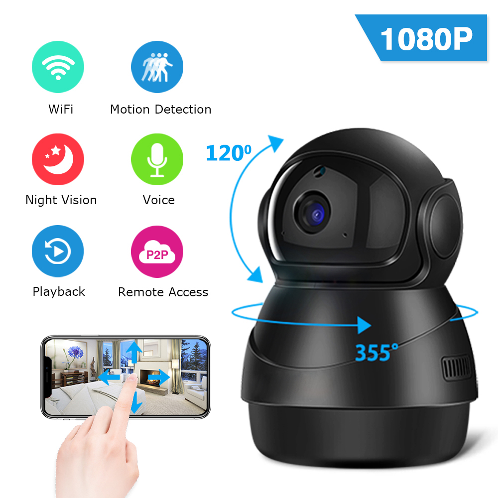 Zoohi 1080P WiFi Camera Home Video Surveillance Camera Motion Detection HD Wireless Night Vision Indoor Two-Way Audio Camera