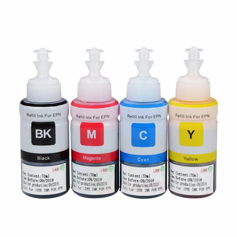 Dye Refill Ink Kit For Epson L100 L110 L120 L132 L210 L222 L300 L312 L355 L350 L362 L366 L550 L555 L566 Printer Free Shipping