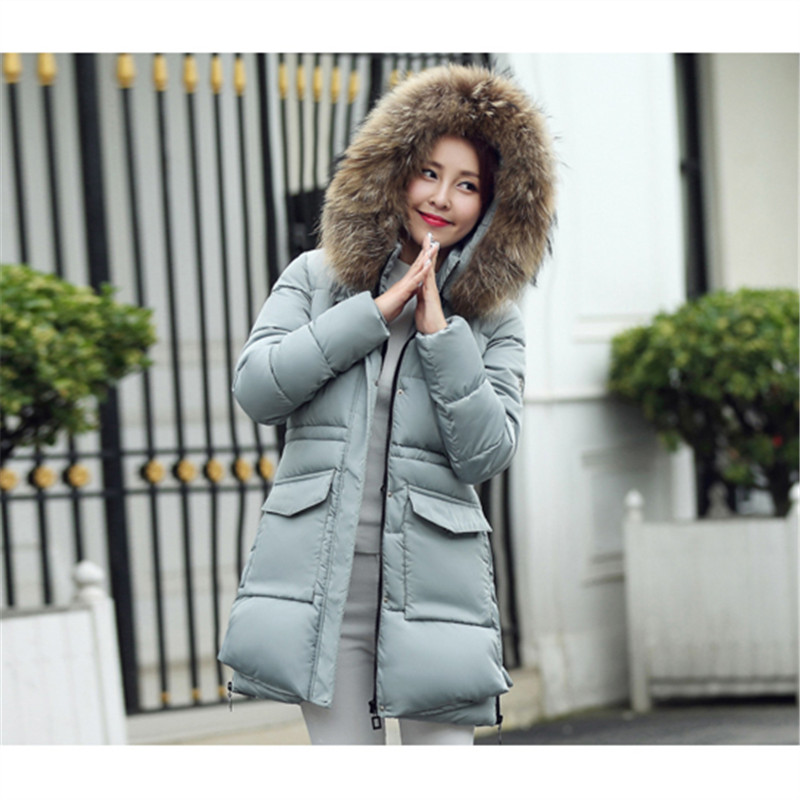 New 2016 Winter Coats Women Jackets Real Large Raccoon Fur Collar Thick Ladies Full sleeve warm down cotton thick slim coat