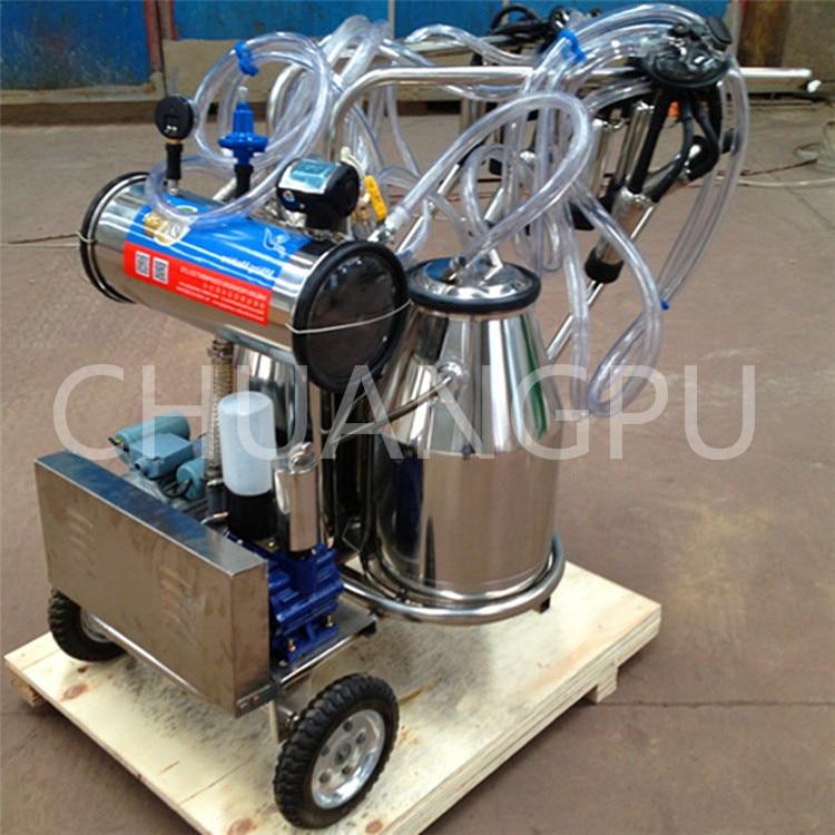 Двойной вакуумный насос из нержавеющей стали, мобильная Доильная машина для доения коров/коз/овцы
