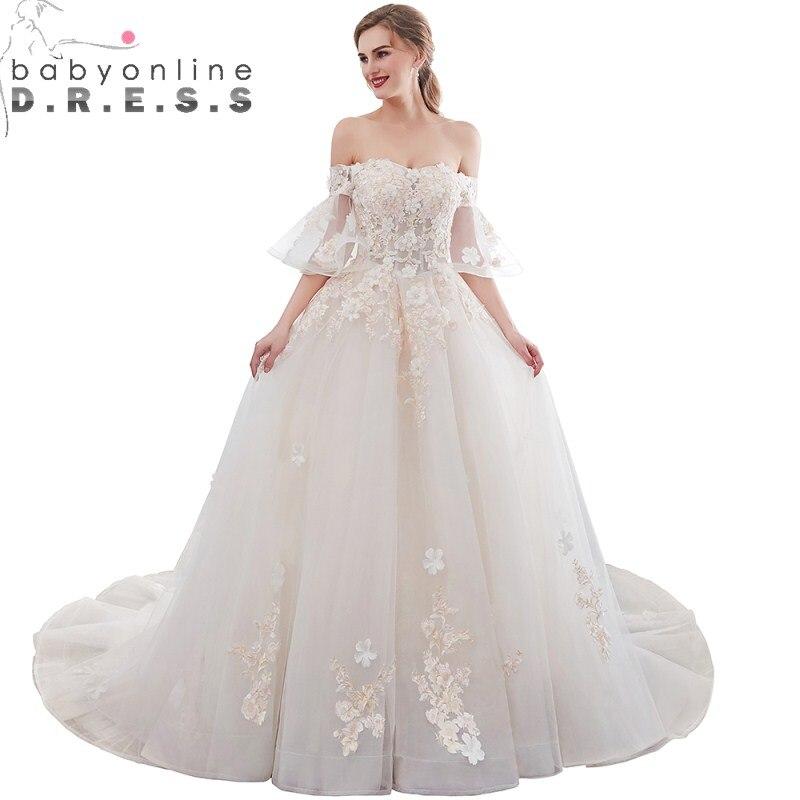 Babyonlinedress очаровательный кружевной вырез лодочкой черное свадебное платье Элегантное с открытыми плечами Половина рукава линия свадебное платье