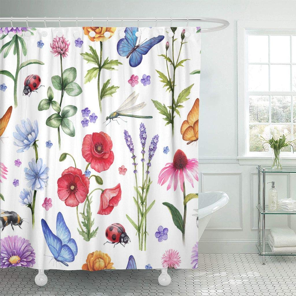 Shower Curtain Dragonfly Wild Flowers And Insect Watercolor Summer Pattern Bee Hand Bug Drawn Floral