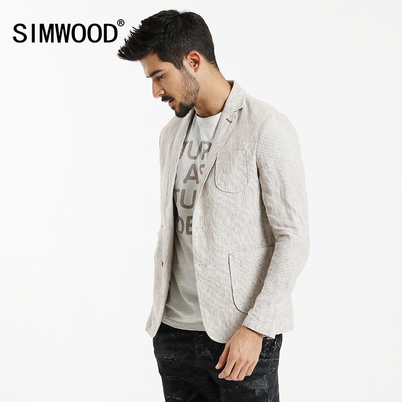 SIMWOOD Autumn Blazers Men Suits Linen Clothing Slim Fit