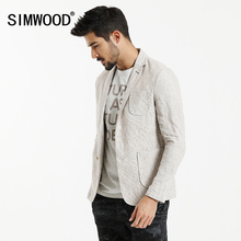 Simwood осень 2017 г. Новые повседневные Пиджаки Для мужчин Костюмы лен тонкий Slim Fit карман лоскутное брендовая одежда Slim Fit XZ6122