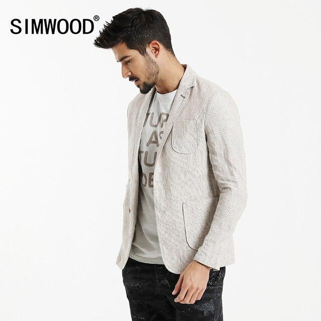 SIMWOOD 2018 Autumn  New Causal Blazers Men Suits Linen Thin Slim Fit Pocket  Patchwork Brand Clothing Slim Fit XZ6122