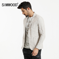 SIMWOOD 2017 Spring New Causal Blazers Men Suits Linen Thin Slim Fit Pocket Patchwork Brand Clothing