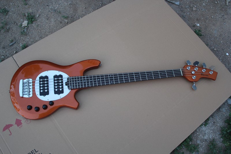 Free Shipping Top Quality Music 5 Strings Active Pickups Music Man StingRay Ernie ball Bass Bongo Orange Bass Guitar 15 9